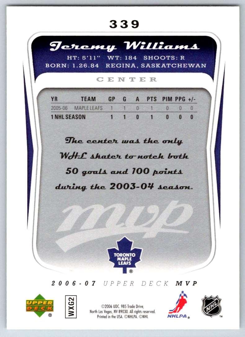 2006-07 Upper Deck MVP Jeremy Williams #339 card back image