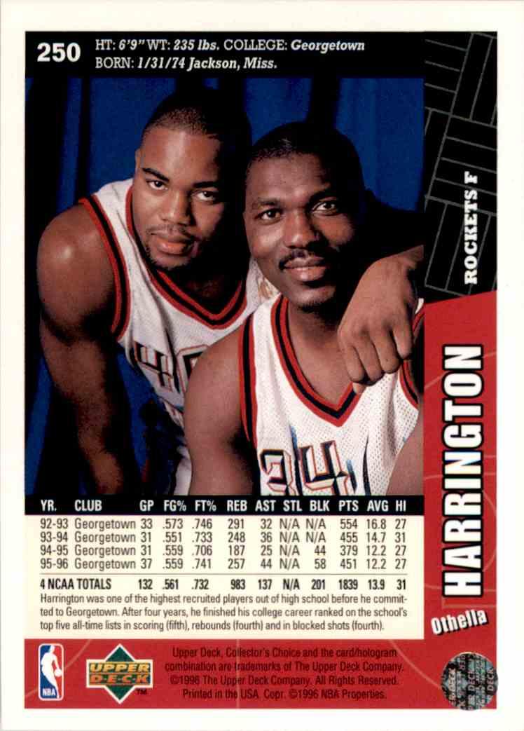 1996-97 Collector's Choice Othella Harrington #250 card back image