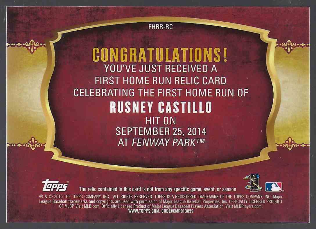 2015 Topps First Home Run Relics Rusney Castillo S2 #FHRRRC card back image