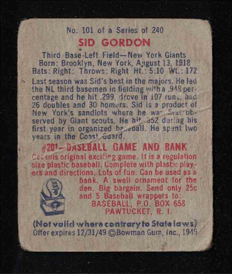 1949 Bowman Sid Gordon F-G #101 card back image