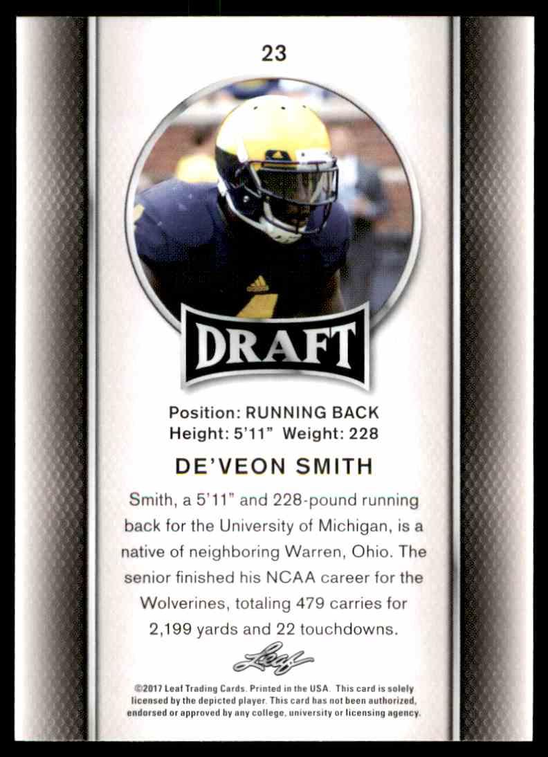 2017 Leaf Draft De'veon Smith #23 card back image