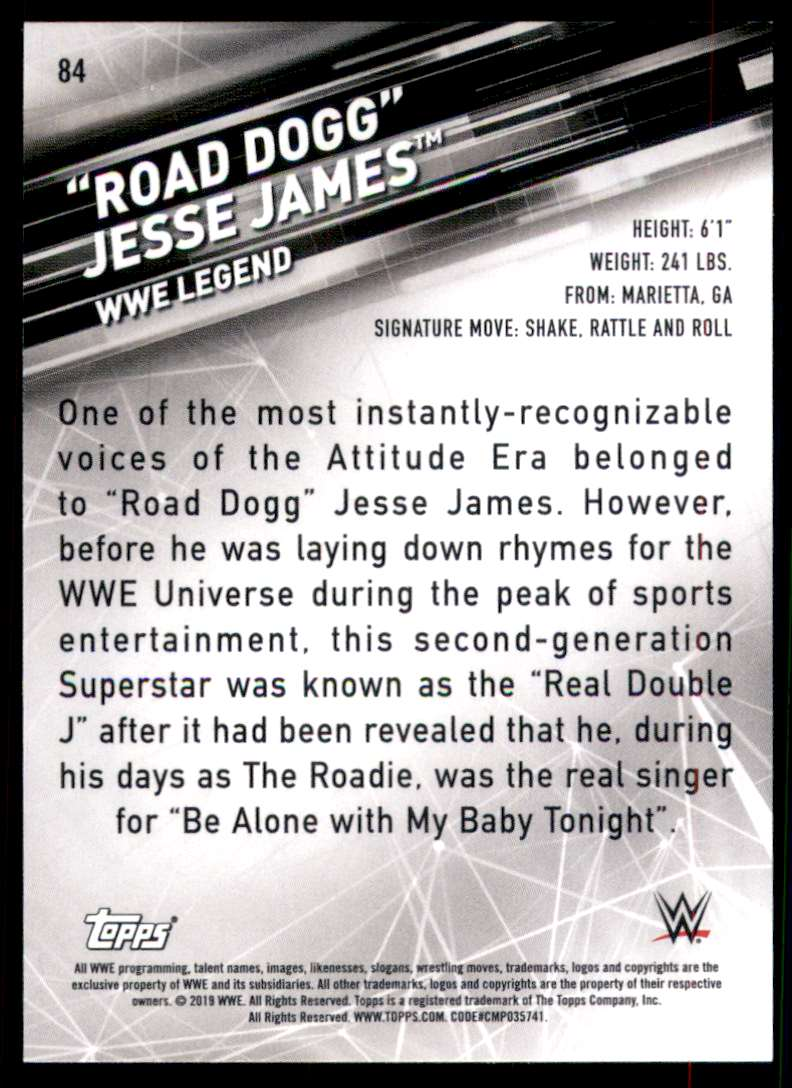 """2019 Topps Wwe SmackDown Live Green """"Road Dogg"""" Jesse James #84 card back image"""