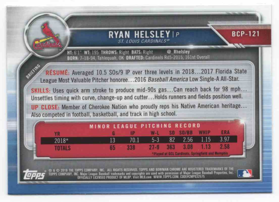 2019 Bowman Chrome Ryan Helsley #BCP121 card back image