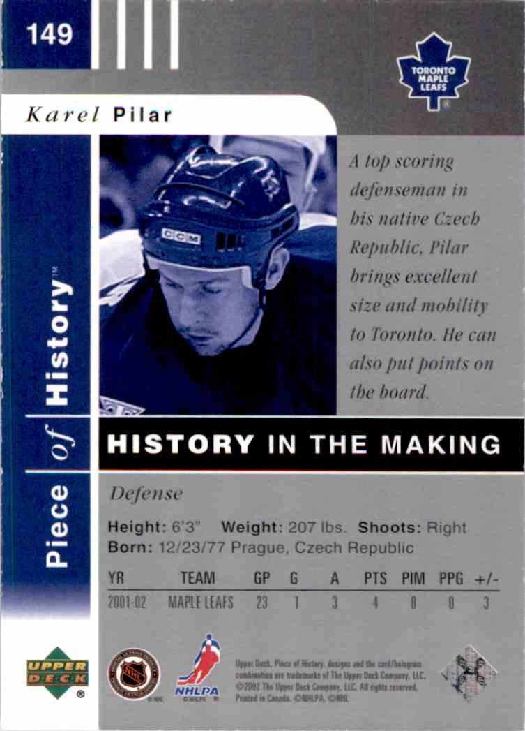 2002-03 Upper Deck Piece Of History Awards Collection Karel Pilar #149 card back image
