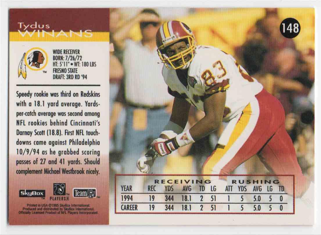 1995 Skybox Impact Tydus Winans #148 card back image