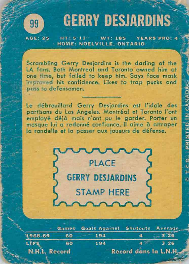 1969-70 O-Pee-Chee Gerry Desjardins #99 card back image