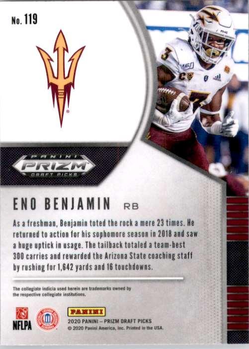 2020 Panini Prizm Draft Picks Eno Benjamin RC #119 card back image