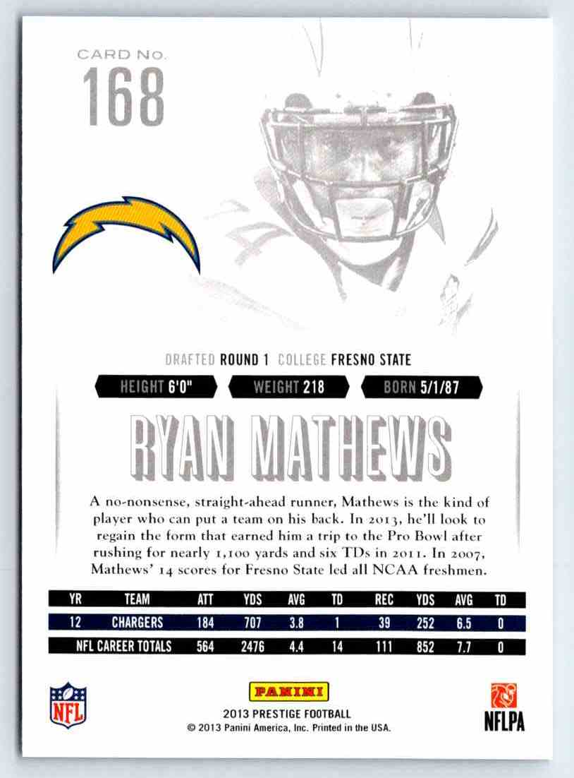 2013 Prestige Ryan Mathews #168 card back image