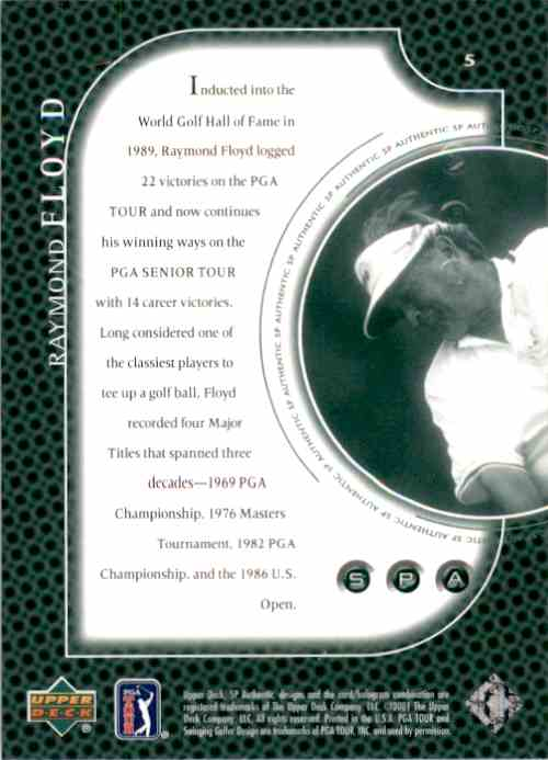 2001 SP Authentic Preview Raymond Floyd #5 card back image