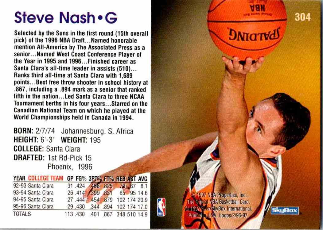 1997-98 NBA Hoops Steve Nash #304 card back image