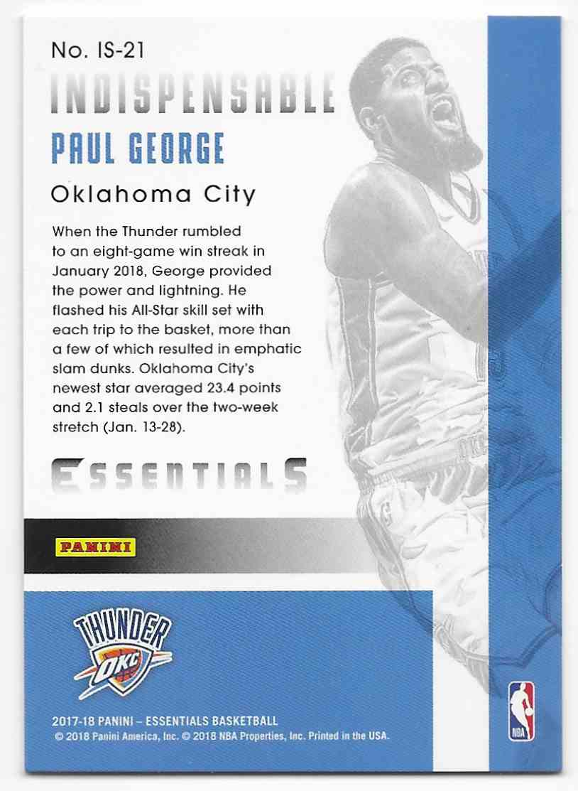 2017-18 Panini Essentials Indispensable Stars Paul George #IS-21 card back image