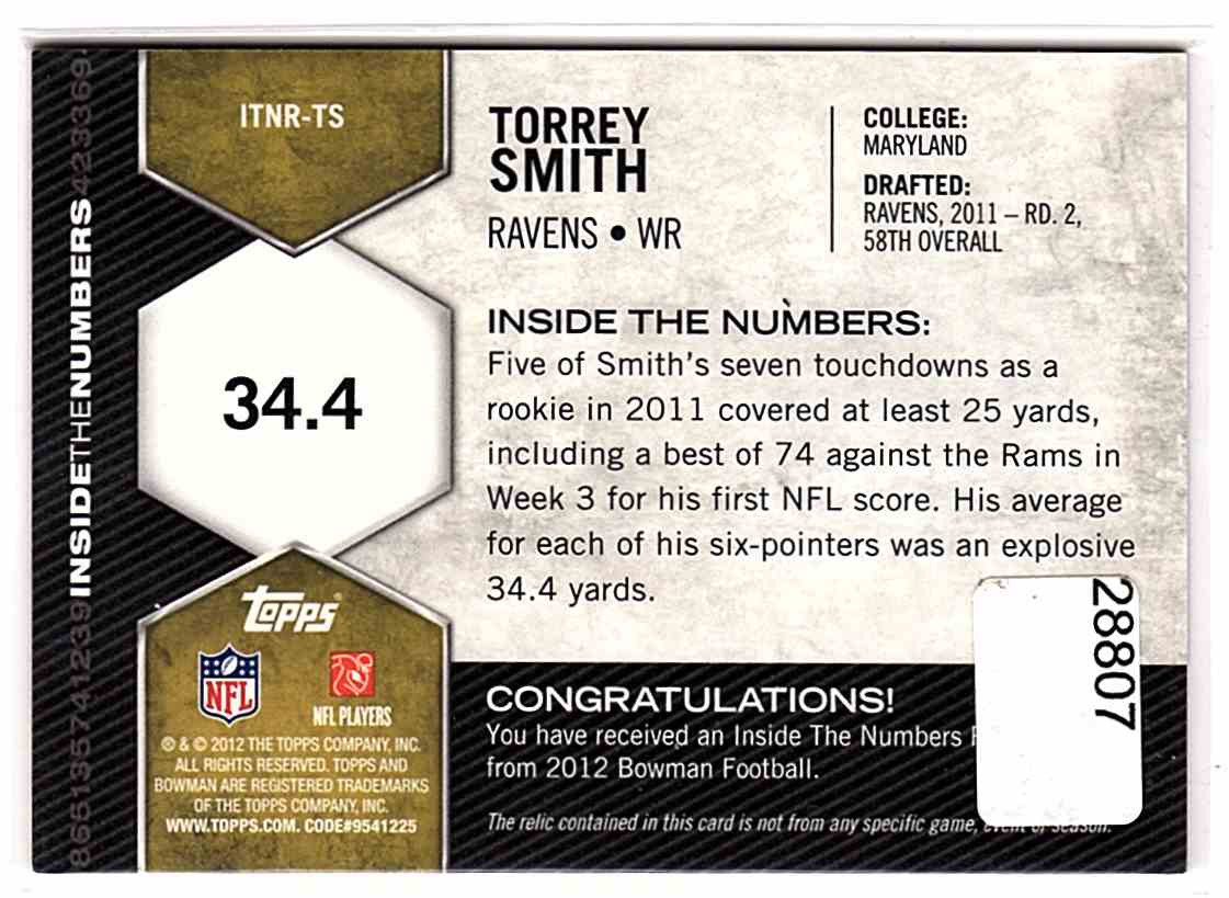 2012 Bowman Inside The Numbers Relics Torrey Smith #ITNR-TS card back image