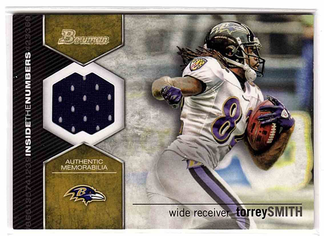 2012 Bowman Inside The Numbers Relics Torrey Smith #ITNR-TS card front image