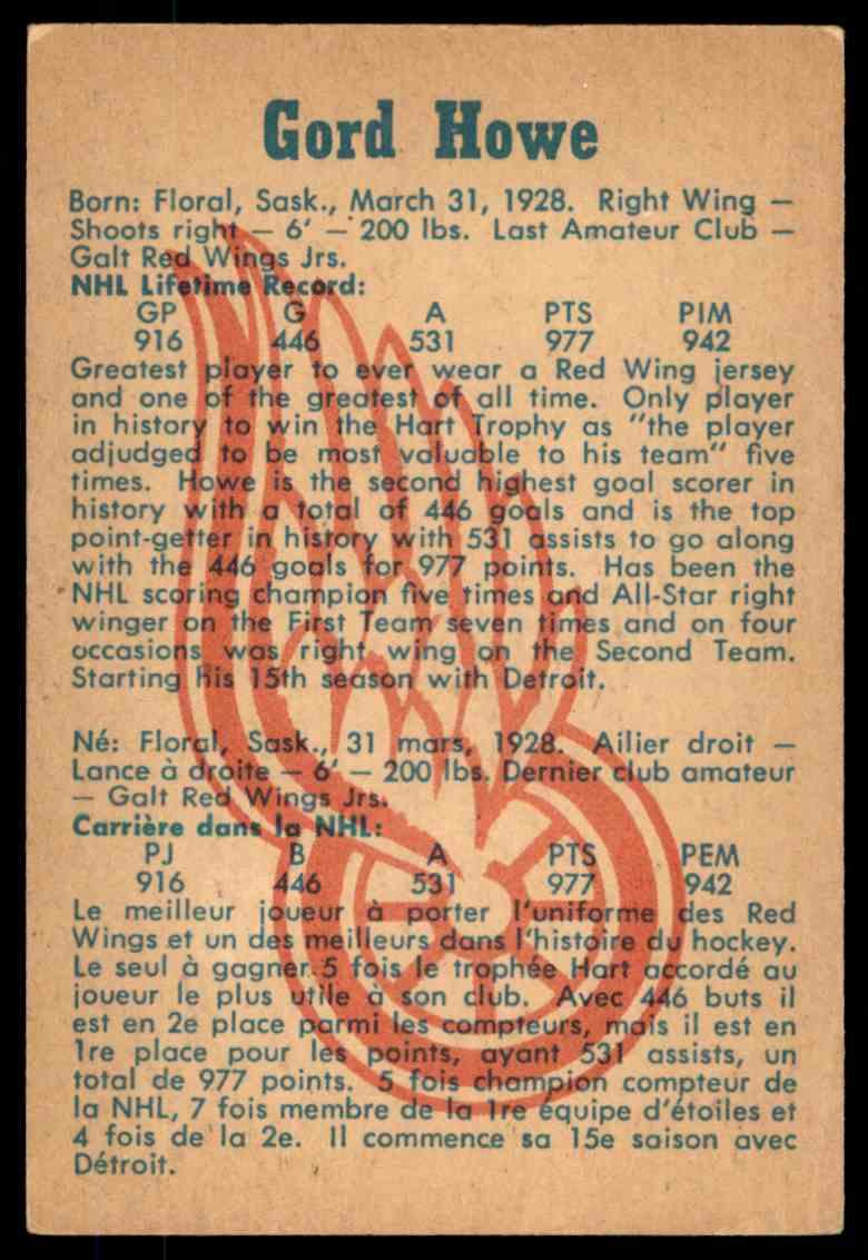 1960-61 Parkhurst Gordie Howe #20 card back image