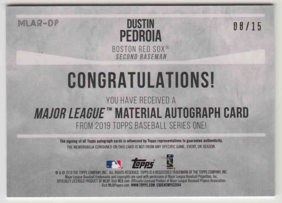 2019 Topps Series 1 Major League Material Dustin Pedroia #MLAR-DP card back image