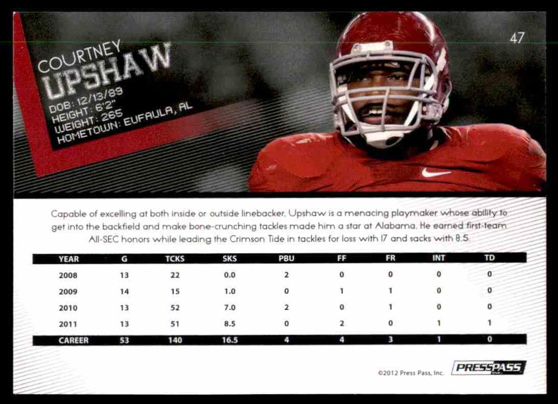 2012 Press Pass Courtney Upshaw #47 card back image