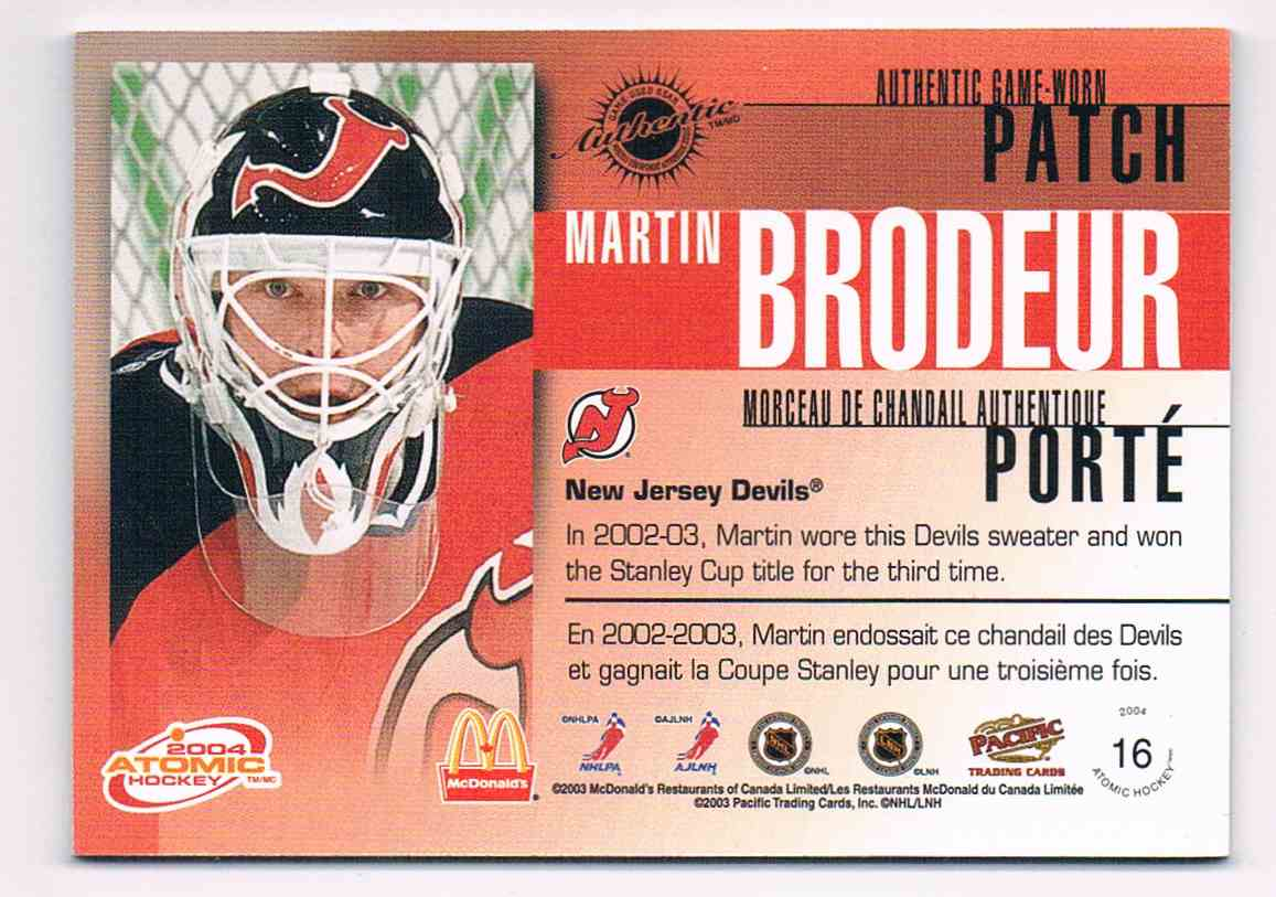 2003-04 Pacific McDonald's Patches Silver Authentic Game-Used Gear Martin Brodeur #16 card back image