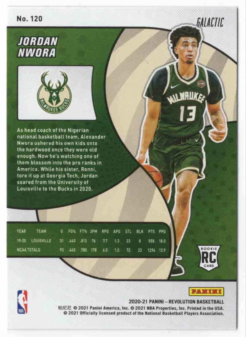 2020-21 Panini Revolution Galactic Jordan Nwora #120 card back image