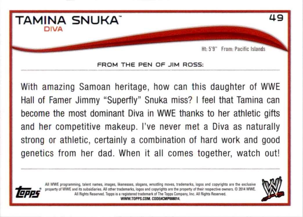 2014 Topps Wwe Tamina Snuka #49 card back image
