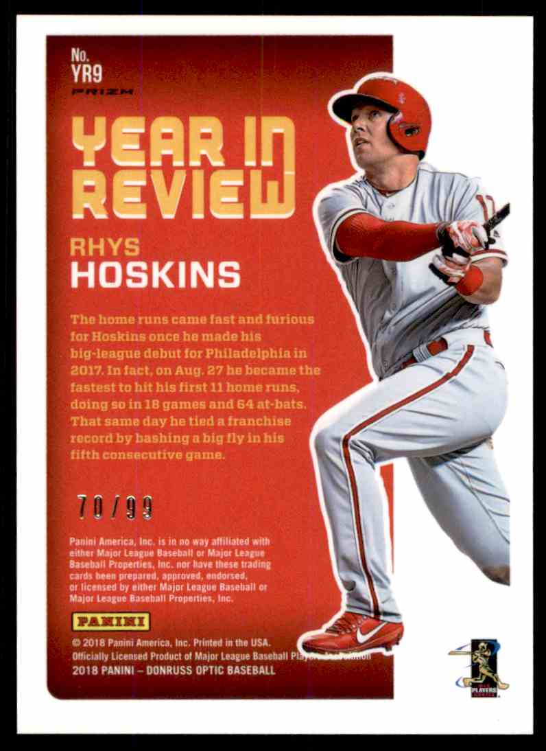 2018 Donruss Optic Red Prizm Rhys Hoskins #YR9 card back image