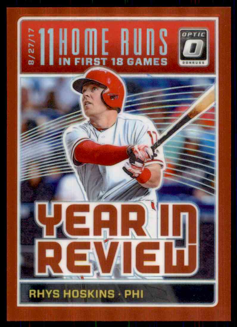 2018 Donruss Optic Red Prizm Rhys Hoskins #YR9 card front image