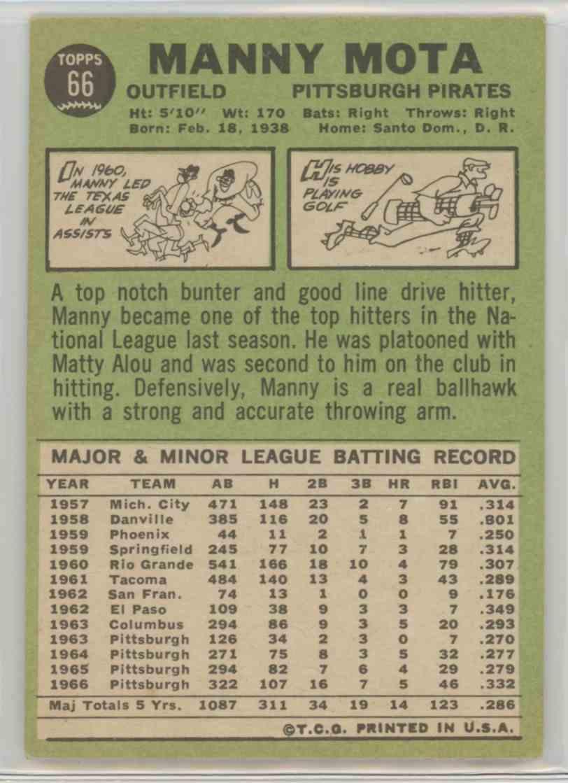 1967 Topps Manny Mota #66 card back image