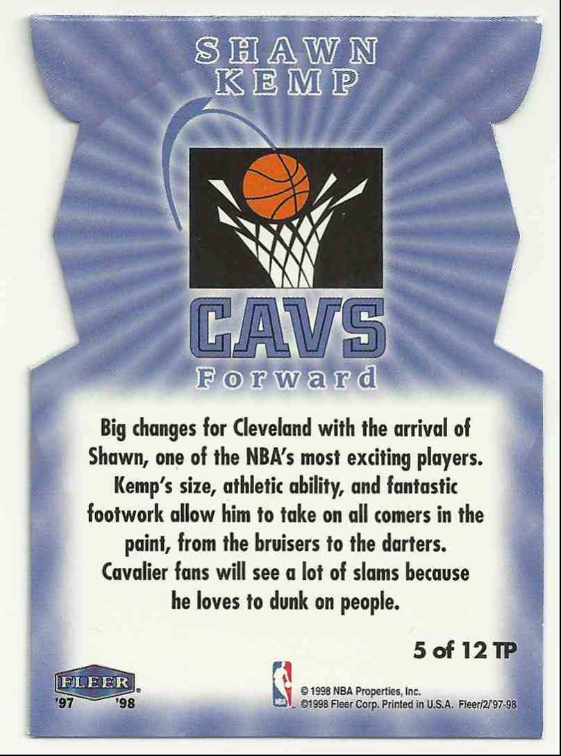 1997-98 Fleer Tower Of Power Shawn Kemp #5 card back image