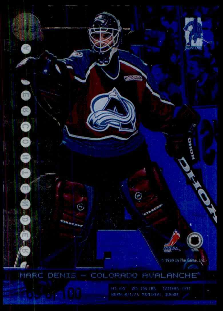1999-00 Bap Millennium Calder Candidates Sapphire Marc Denis #C43 card back image