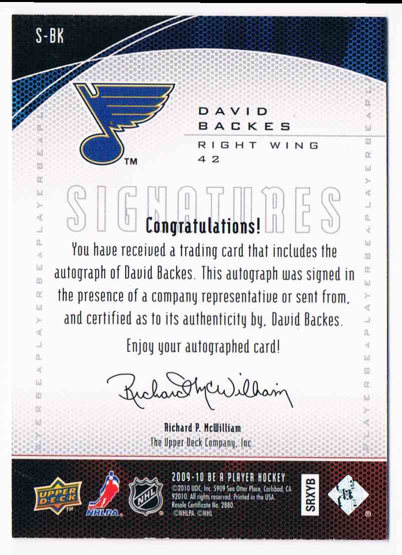 2009-10 Upper Deck Be A Player Signatures David Backes #S-BK card back image
