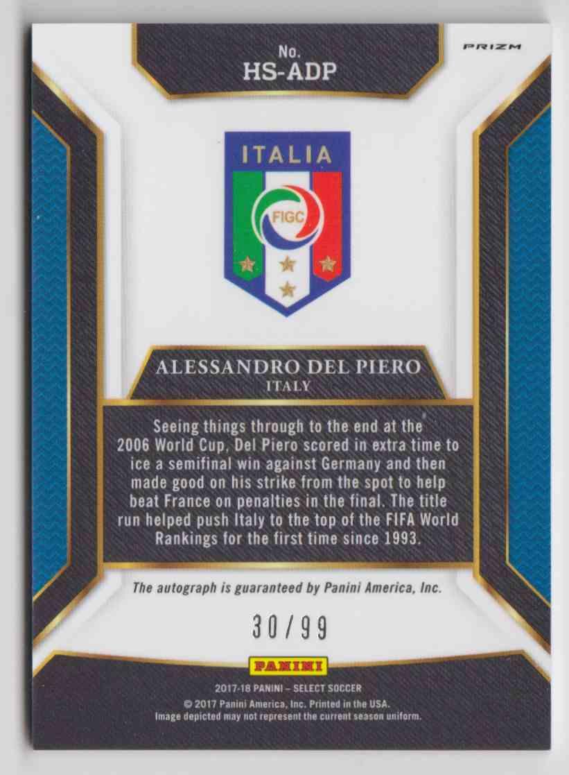 2017 Panini Select Historic Signatures Prizm White Alessandro Del Piero #HS-ADP card back image