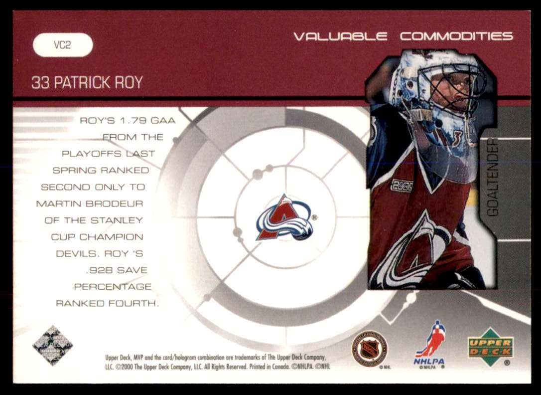 2000-01 Upper Deck MVP Valuable Commodities Patrick Roy #VC2 card back image