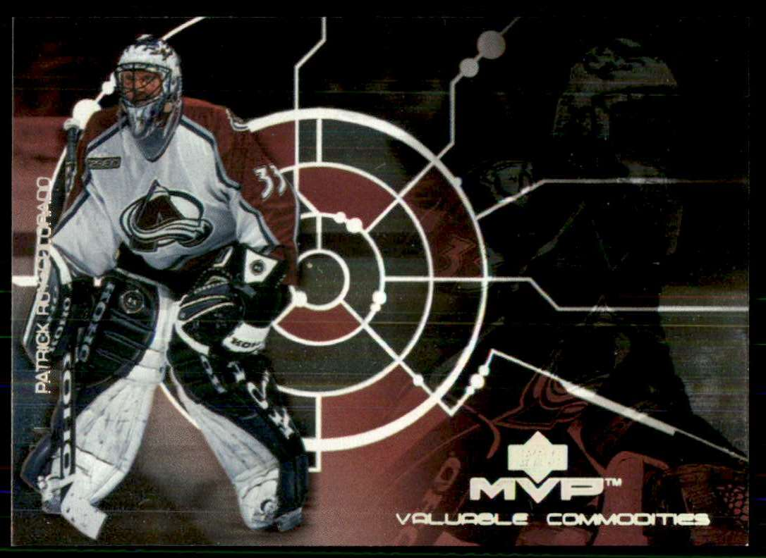 2000-01 Upper Deck MVP Valuable Commodities Patrick Roy #VC2 card front image