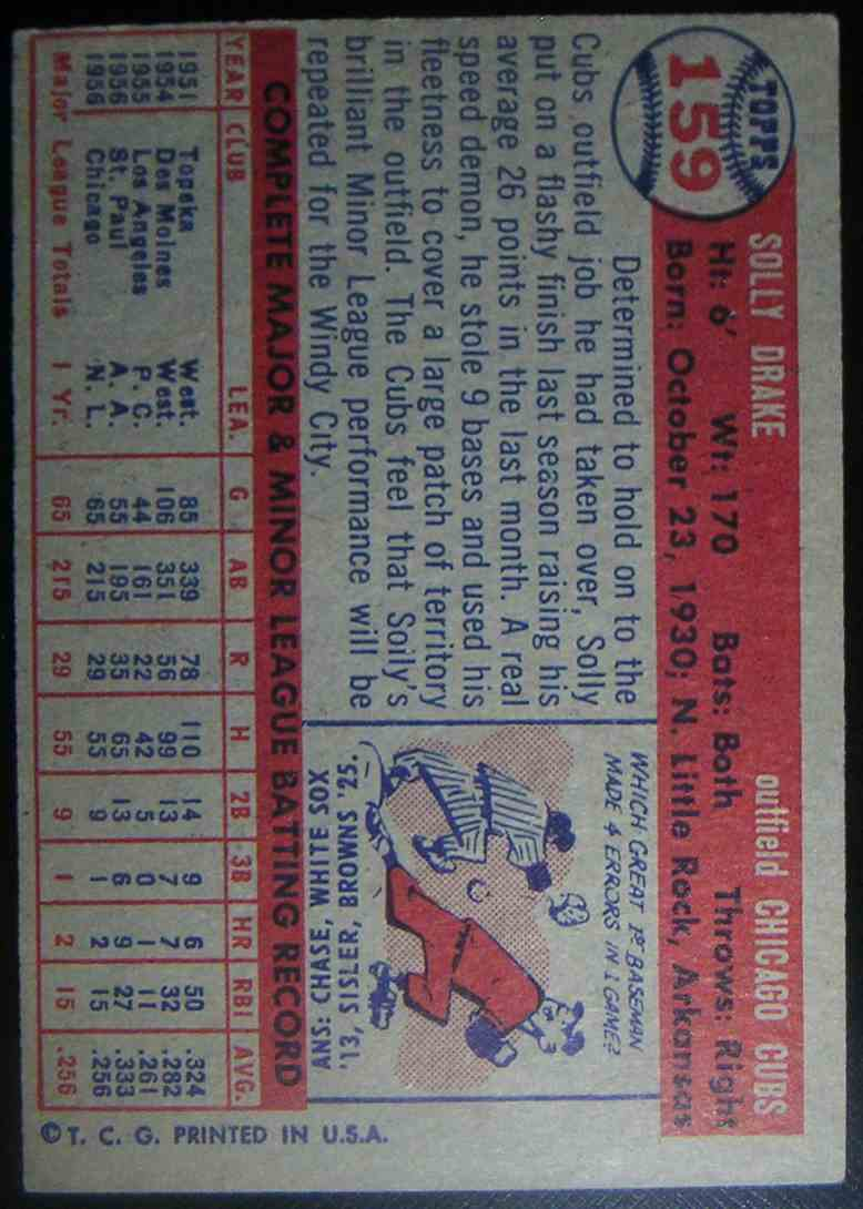 1957 Topps Solly Drake #159 card back image