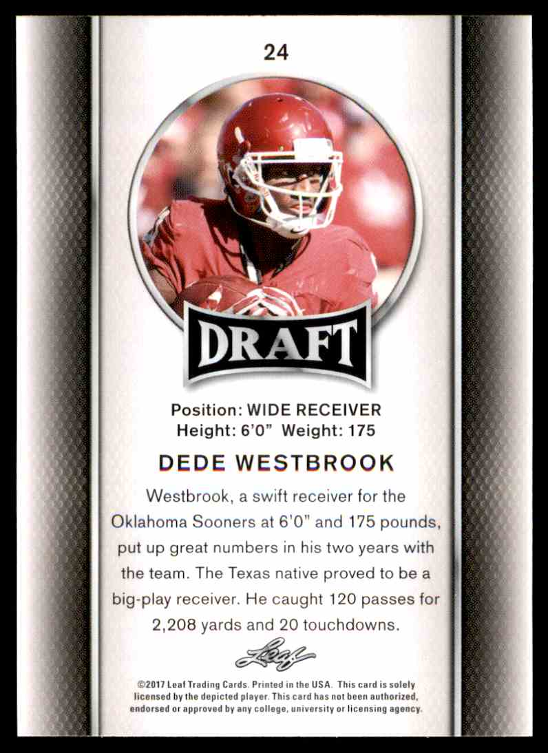 2017 Leaf Draft Dede Westbrook #24 card back image