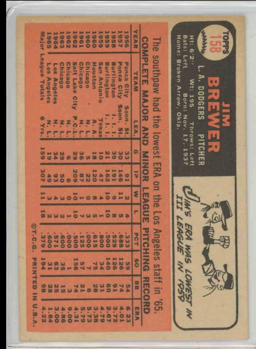 1966 Topps Jim Brewer #158 card back image