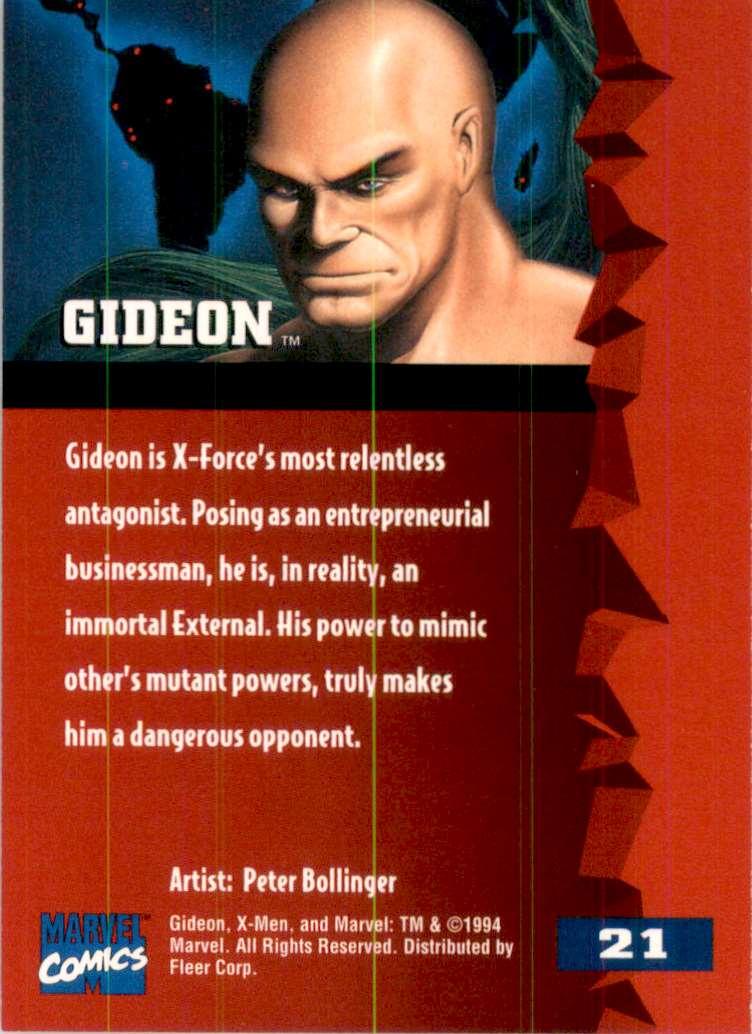 1995 X-Men Ultra Gideon #21 card back image