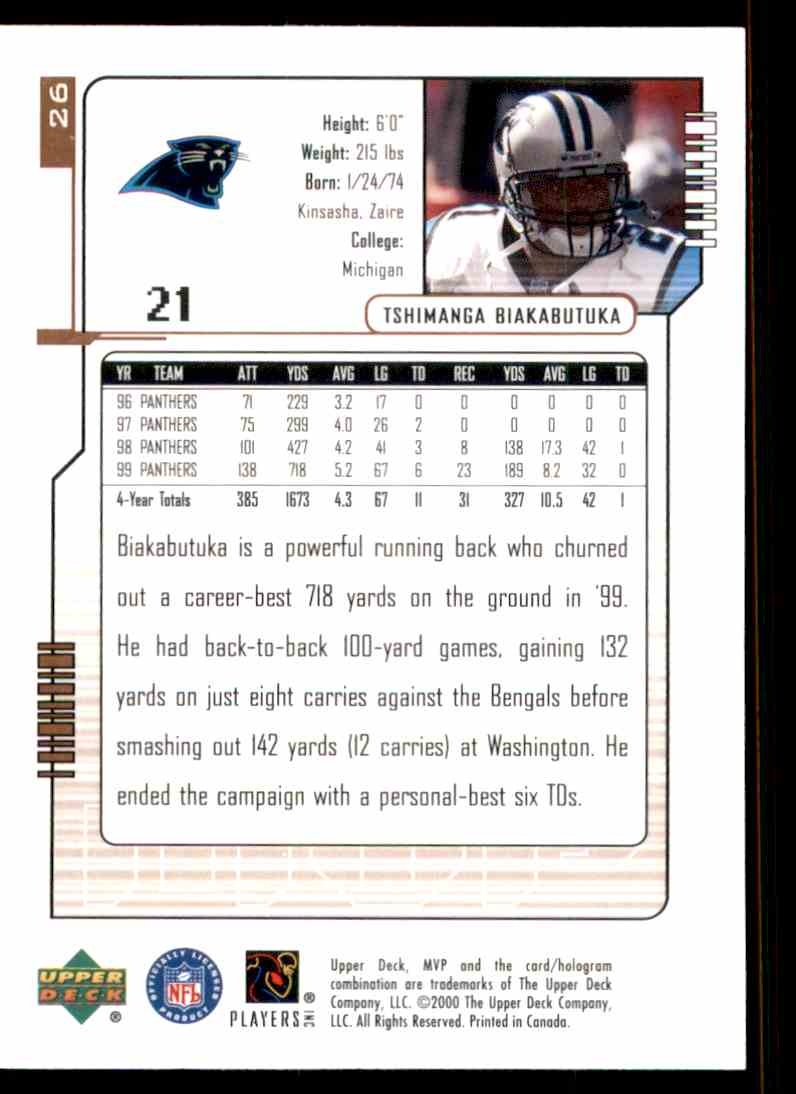 2000 Upper Deck MVP Tim Biakabutuka #26 card back image