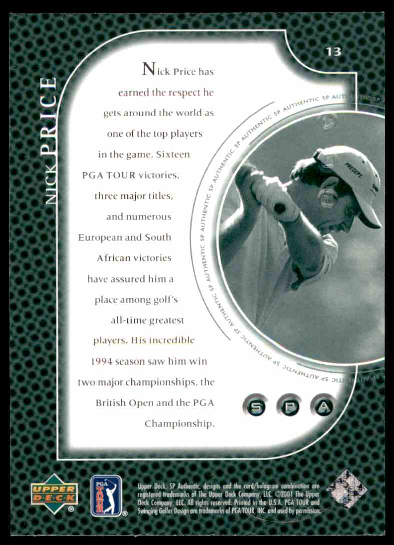 2001 SP Authentic Preview Nick Price #13 card back image
