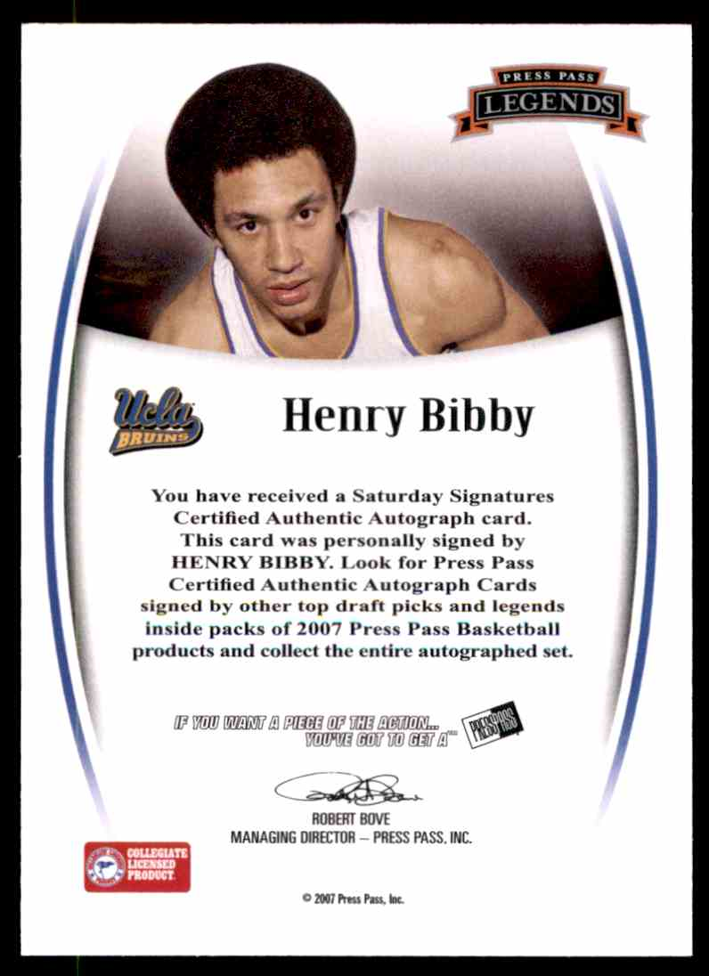 2007-08 Press Pass Legends Signatures Henry Bibby #18 card back image