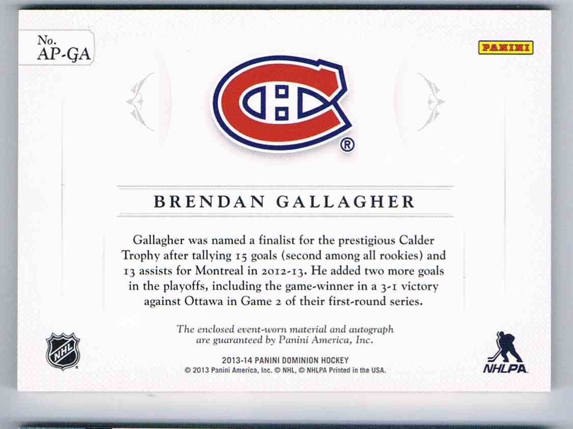 2013-14 Panini Dominion Patches Autographs Brendan Gallagher #AP-GA card back image
