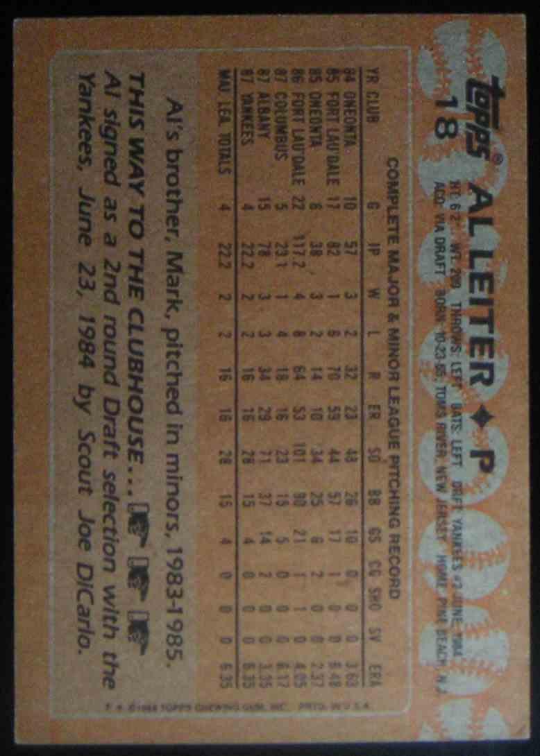 1988 Topps Al Leiter #18 card back image