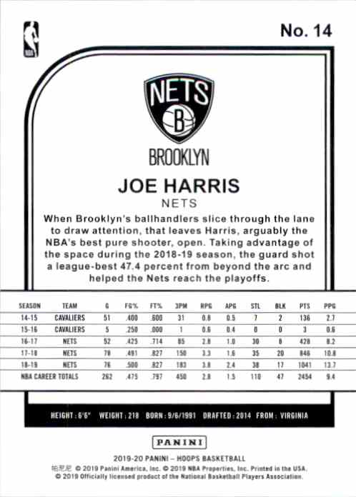 2019-20 Hoops Joe Harris #14 card back image