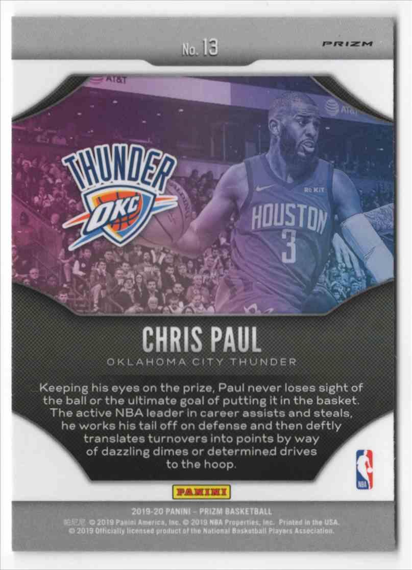 2019-20 Panini Prizm Fireworks Fast Break Chris Paul #13 card back image