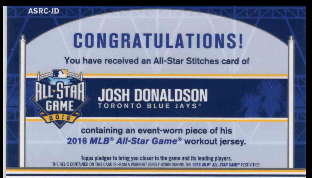 2016 Topps Chrome All Star Game Relic Josh Donalson #ASRC-JD card back image