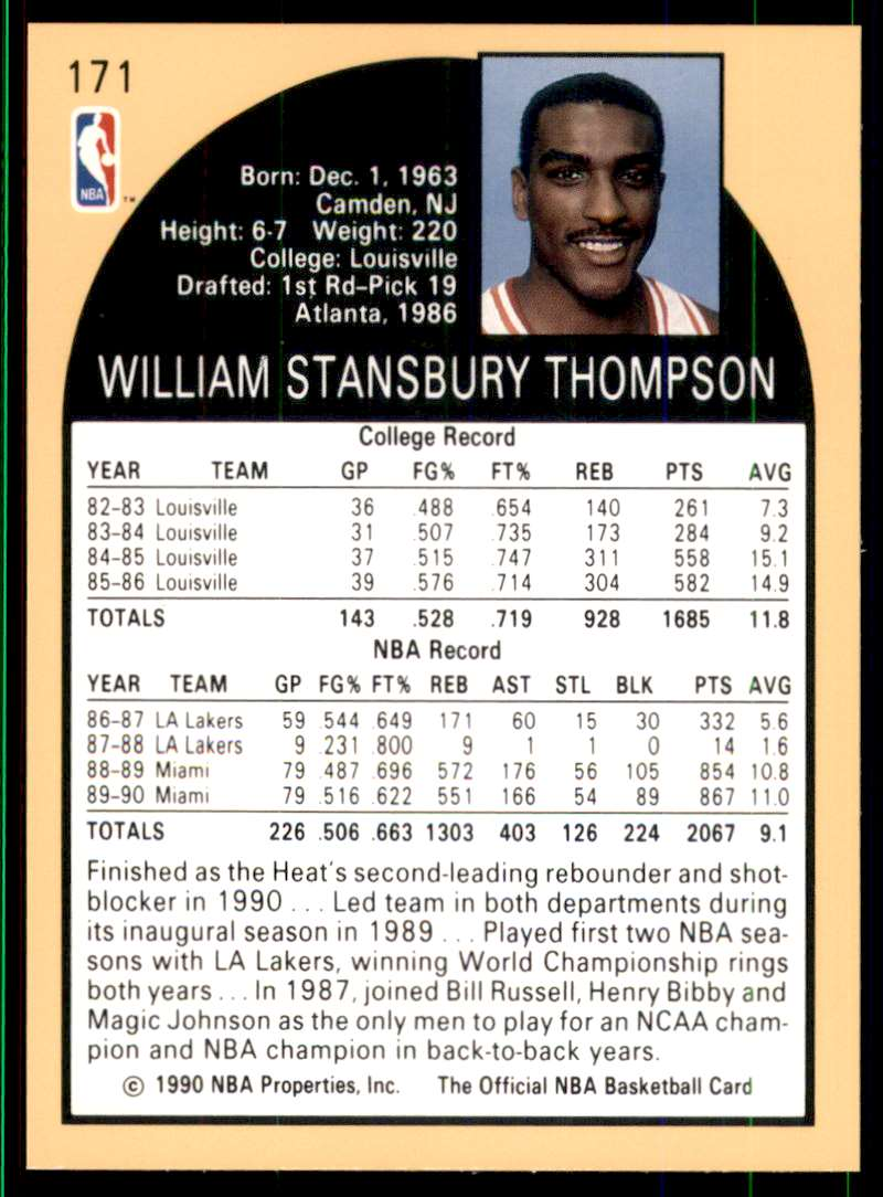1990-91 Hoops Billy Thompson #171 card back image