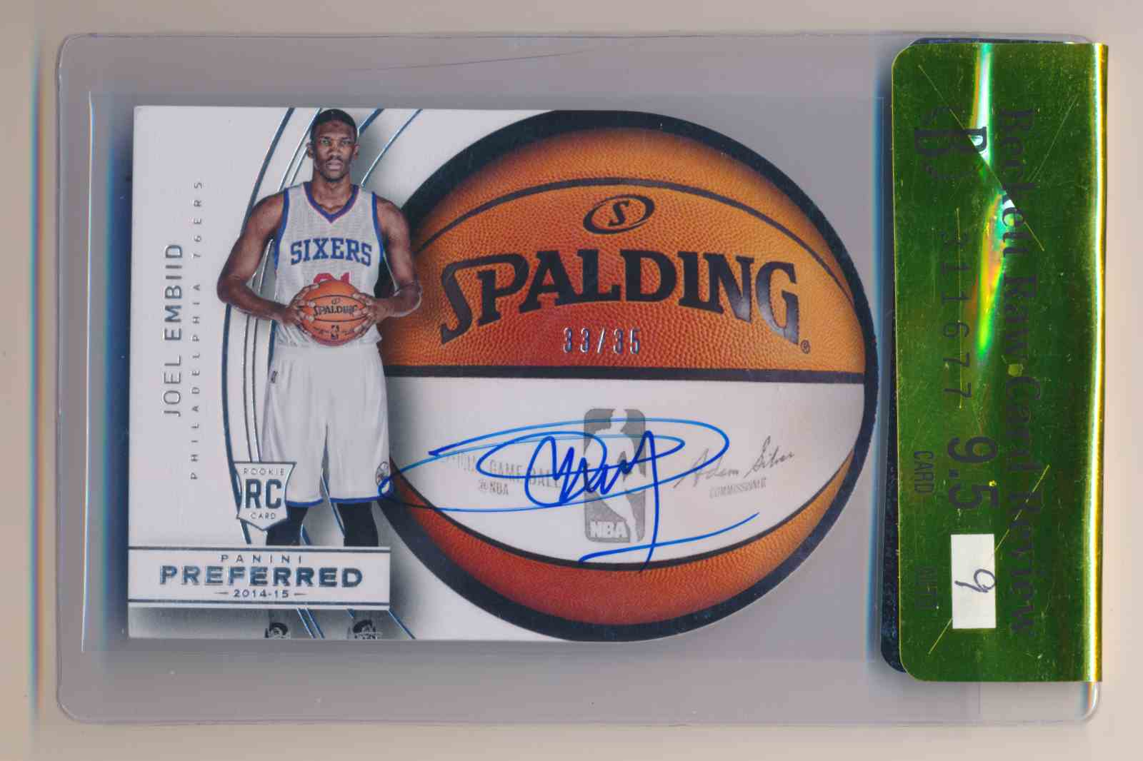 2014-15 Panini Preferred Joel Embiid BGS 9.5 9 Auto #21 card front image