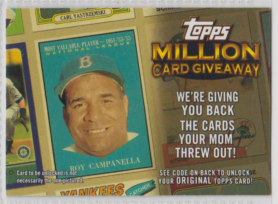 2010 Topps Million Card Giveaway Roy Campanella Tmc 21 On