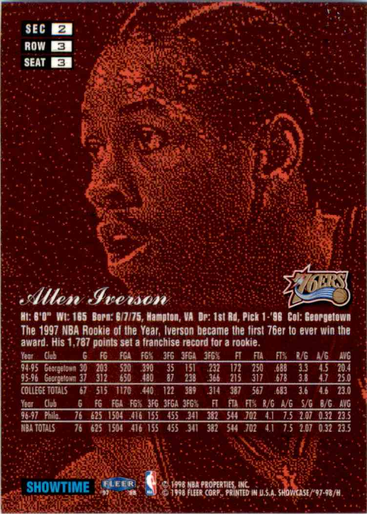 1997-98 Flair Showcase Row 3 Allen Iverson #3 card back image