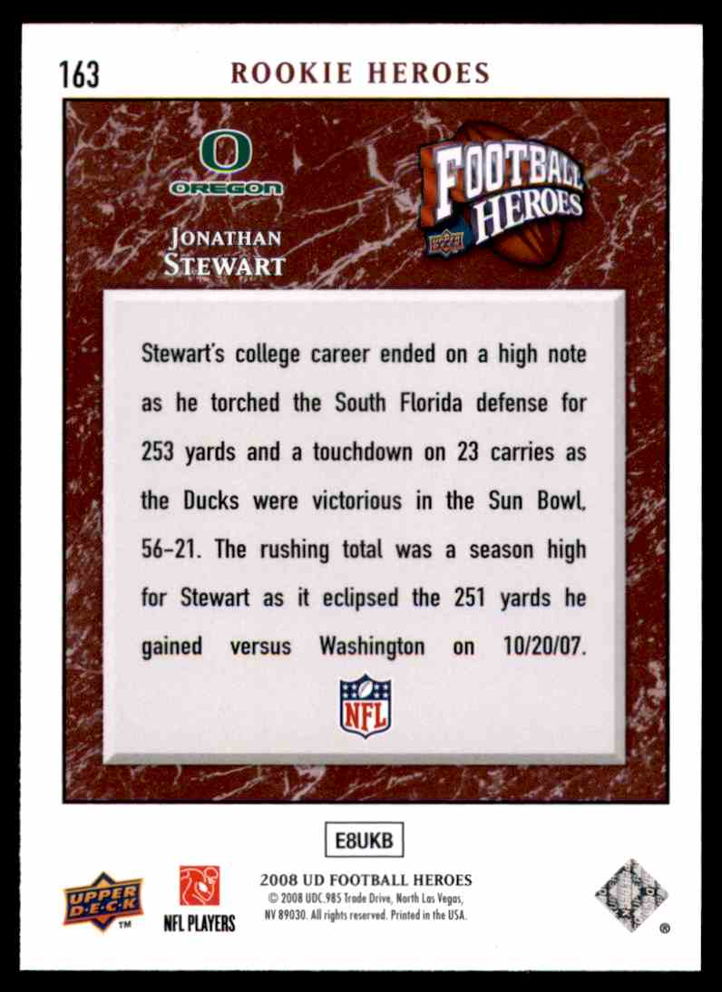 2008 Upper Deck Heroes Jonathan Stewart RC #163 card back image