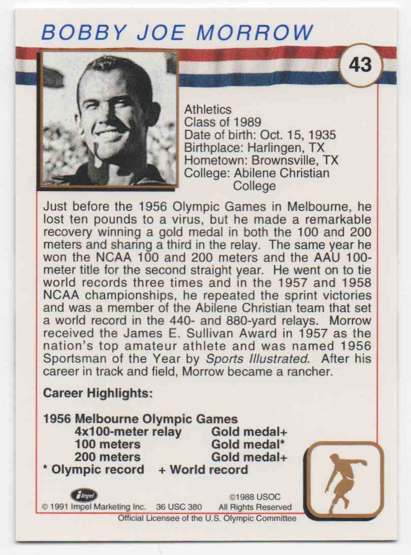 1991 Impel U.S. Olympic Hall Of Fame Bobby Joe Morrow #43 card back image